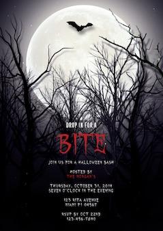 Halloween party dracula einladungskarte vorlage