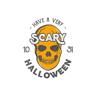 Halloween-party-druckvorlage mit totenkopf und typografie - eine gruselige party.