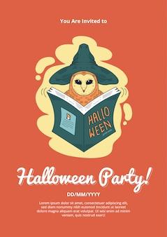 Halloween party einladung mit owl wizzard illustration