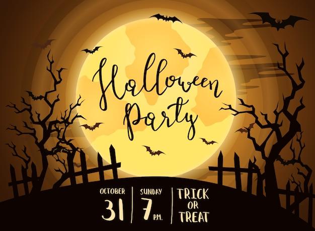 Halloween-party einladung mit vollmond