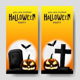 Halloween party einladung vorlage mit grab