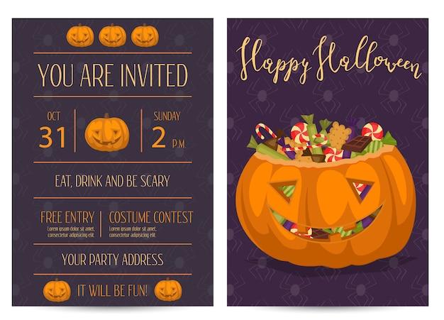 Halloween-party einladungen mit gruseligem kürbis