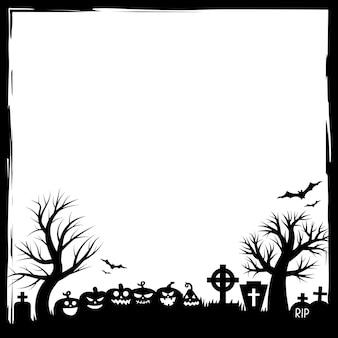 Halloween-party-einladungen oder grußkarten-banner mit traditionellen halloween-symbolen. flyer mit platz für textprobe mit textur in einem einfachen grunge-rahmen. vektorillustration in schwarzweiss.