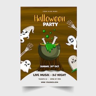 Halloween-party-einladungskarte mit kochendem kessel auf holzstumpf, cartoon-geistern und ereignisdetails.