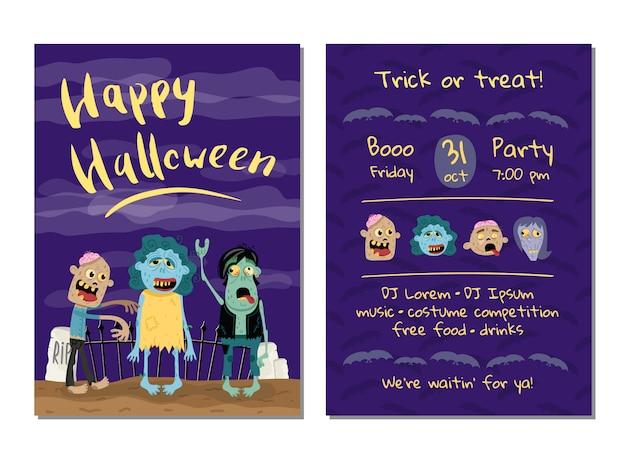 Halloween-party einladungskarte mit niedlichen zombies