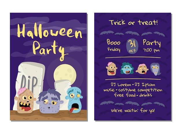 Halloween-party einladungskarte mit zombieköpfen