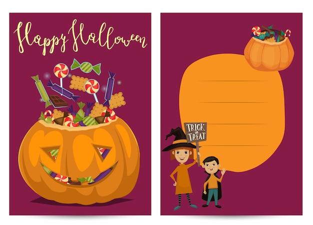 Halloween-party einladungskarten mit gruseligem kürbis
