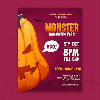 Halloween-party-flyer-design mit beängstigendem kürbis und ereignisdetails in der rosa farbe.