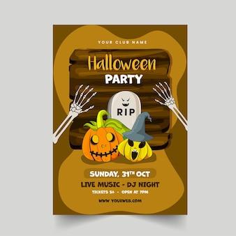 Halloween-party-flyer-design mit beängstigenden kürbissen, rip-stein, skelettarmen und holzbrett auf braunem hintergrund.