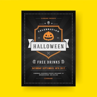 Halloween party flyer feier nacht party poster oder flyer vorlage