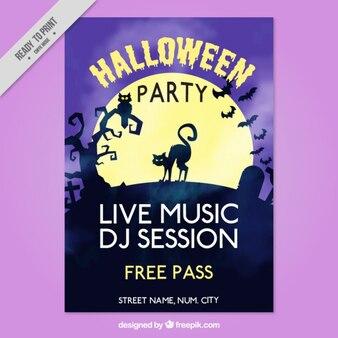 Halloween-party-flyer mit katzen auf dem friedhof