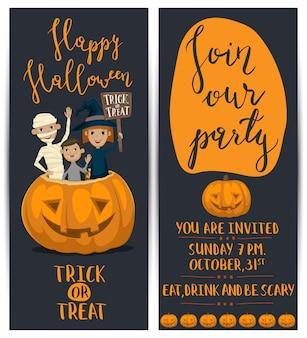 Halloween-party-flyer mit kindern in kostümen gesetzt
