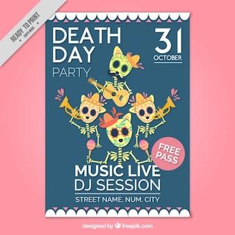 Halloween-party-flyer mit schönen mexikanischen skelette
