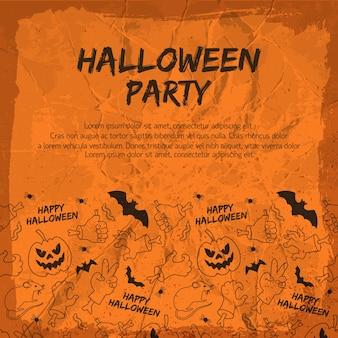Halloween party flyer mit tierlaternen aus kürbishänden und gesten