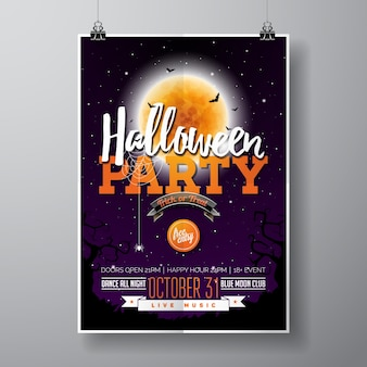Halloween party flyer vektor-illustration mit kürbis und friedhof auf lila himmel hintergrund. feiertagsentwurf mit mond, spinnen und fledermäusen für parteieinladung, grußkarte, fahne, plakat.