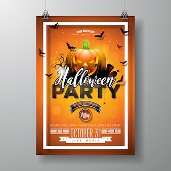 Halloween party flyer vektor-illustration mit kürbis und friedhof auf orange himmel hintergrund. feiertagsentwurf mit spinnen und fledermäusen für parteieinladung, grußkarte, fahne, plakat.