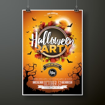 Halloween party flyer vektor-illustration mit mond auf orange himmel hintergrund. feiertagsentwurf mit spinnen und fledermäusen für parteieinladung, grußkarte, fahne, plakat.