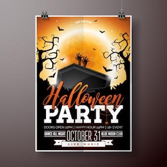 Halloween party flyer vektor-illustration mit schwarzem sarg und zombie hand auf orange mond himmel hintergrund. feiertagsentwurf mit spinnen und fledermäusen für parteieinladung, grußkarte, fahne, plakat.