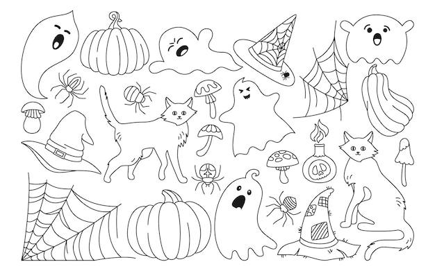 Halloween party horror cartoon set magie doodle hexe kessel fledermaus katze kürbis hut spinne symbolisch symbol