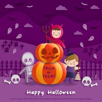 Halloween-party im papierkunststil mit kindern, die teufel, geist, hexe, kostüm tragen. grußkarten und poster. vektor-illustration.