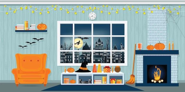 Halloween-party im wohnzimmer.