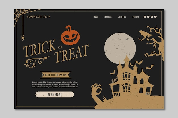 Halloween party landing page vorlage