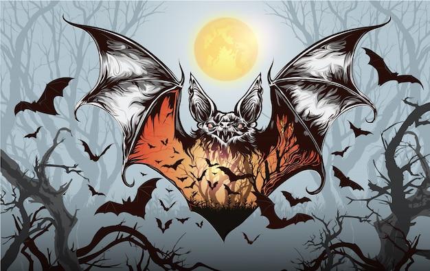 Halloween-party mit fledermaus, weinlese-halloween-hintergrund