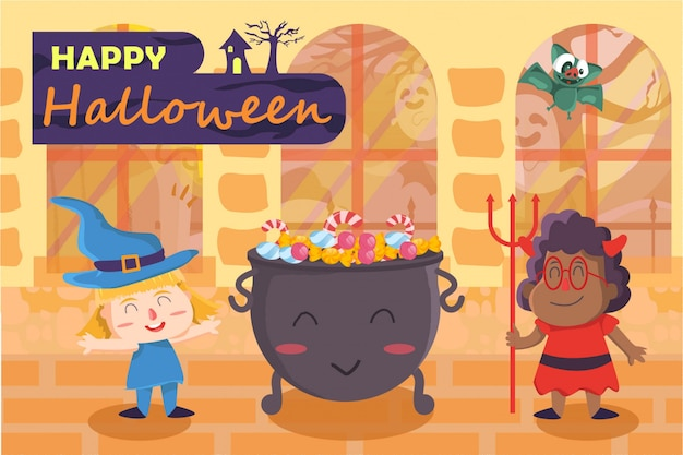 Halloween-party mit illustration des besten freundes