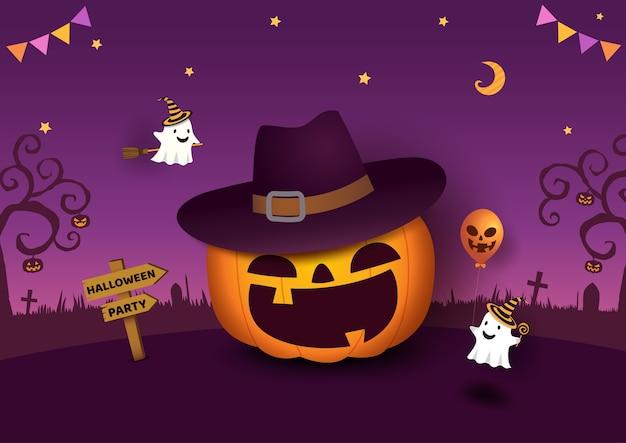 Halloween-party mit kürbis und geist