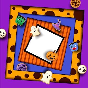 Halloween-party mit plätzchenmonster auf purpur