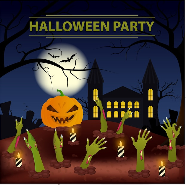 Halloween party. party zombies unter dem boden.