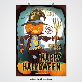 Halloween-party-plakat von vogelscheuche