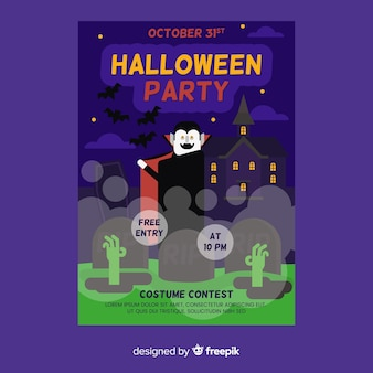 Halloween-party-poster im flachen design