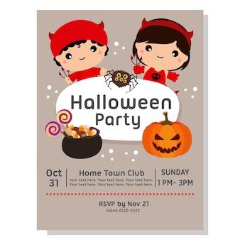 Halloween-party-poster mit kinder-teufel-kostüm