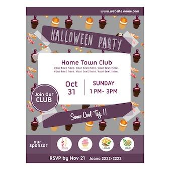 Halloween-party-poster mit leckereien muster