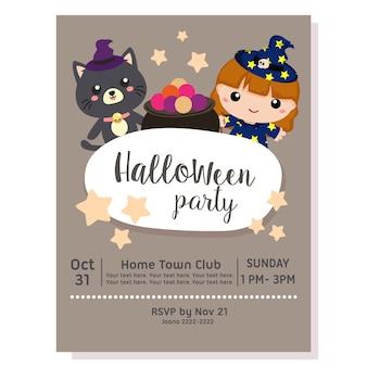 Halloween-party-poster mit liebenswerten katze