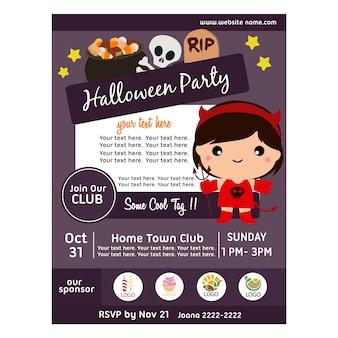Halloween-party-poster mit mädchen teufel kostüme