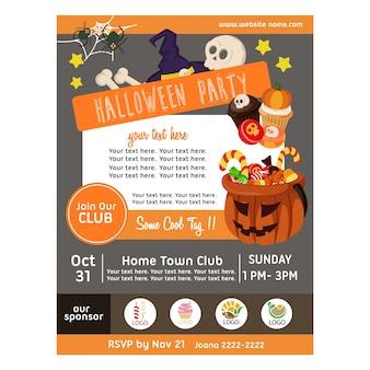 Halloween-party-poster mit süßigkeiten behandelt