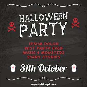 Halloween-party-poster mit tafel textur