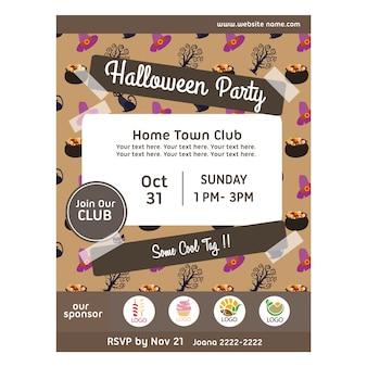 Halloween-party-poster mit topf mit leckereien muster