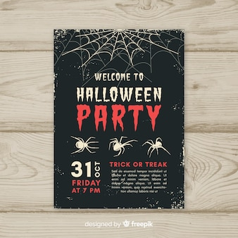 Halloween-party-poster mit vintage-stil