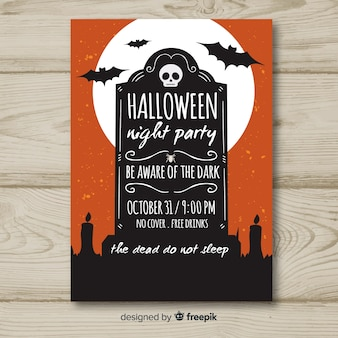 Halloween-party-poster mit vintage-stil
