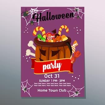 Halloween-party-poster-süßigkeiten und leckereien in flachen stil