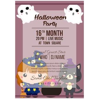 Halloween party poster vorlage mit liebenswerten charakter