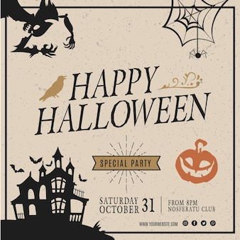Halloween party quadratische flyer vorlage