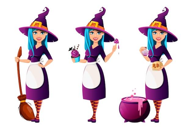 Halloween-party, schöne dame hexe