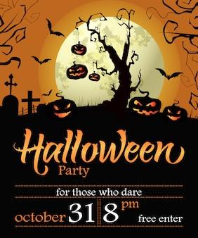 Halloween party schriftzug mit datum, baum, kürbissen und mond