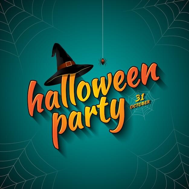 Halloween-party süßes sonst gibt's saures hexenhut und spinnennetz