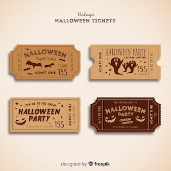 Halloween-party-ticket-sammlung mit vintage-design