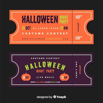 Halloween party tickets mit flachem design